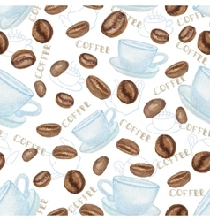 Coffee beans and white Cup seamless pattern vector image