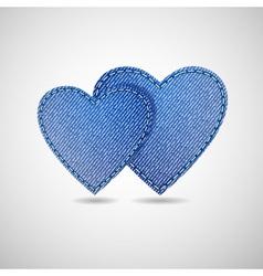 denim hearts vector image vector image