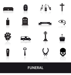 funeral icons set eps10 vector image