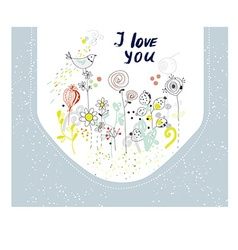 I love you card with flowers and birds vector image vector image