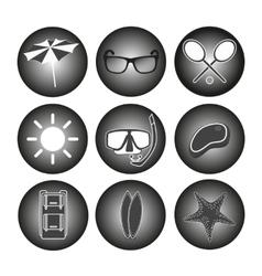 icons set Summer retro vector image