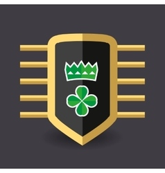Magic shield crown and a quatrefoil clover vector image vector image