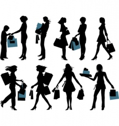 shopping people vector image vector image