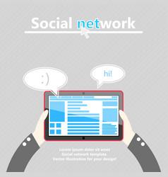 Social network tablet computer in hand flat vector