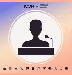 speaker orator speaking from tribune icon vector image vector image