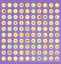 100 digital marketing icons set in cartoon style vector
