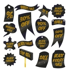 Black Friday Sales labels icons set cartoon style vector image