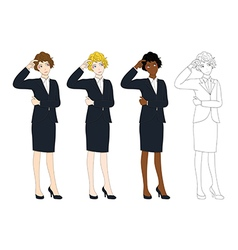 Business Woman Thinking Scratching Head vector image