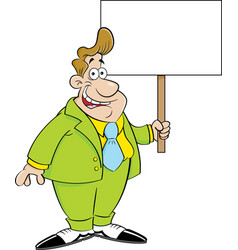 cartoon man in a suit holding a sign vector image