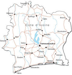 Cote dIvoire Black White Map vector image
