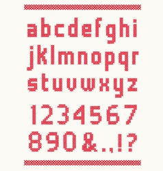cross stitch alphabet vector image vector image
