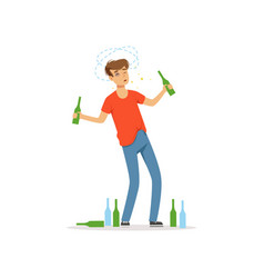 drunk man standing among empty bottles on the vector image vector image
