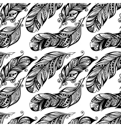 Hand drawn dotted feathers set on white background vector