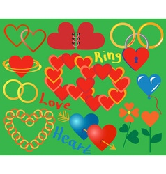 Ring and heart collection vector image vector image