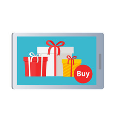 showing of buying nice colourful presents online vector image vector image