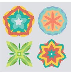 Vintage geometric ornament pattern set vector image