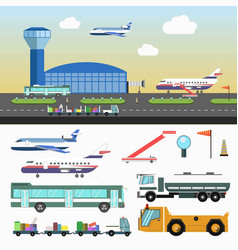 Airport structure and special vehicles set on vector