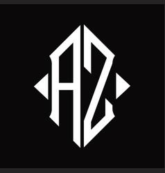Az logo monogram with shield shape isolated vector