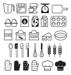 Bakery tool icons set vector