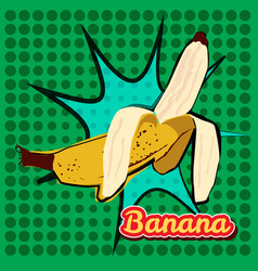 Banana opened with a point texture pop-art style vector