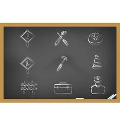 Blackboard construction icons vector