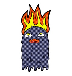 Burning comic cartoon ghost vector