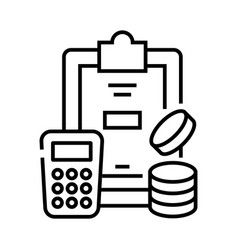 Calculating process line icon concept sign vector