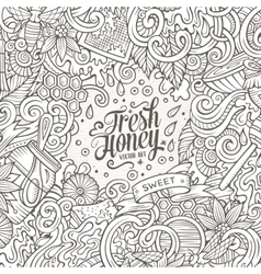 Cartoon doodles Honey frame design vector