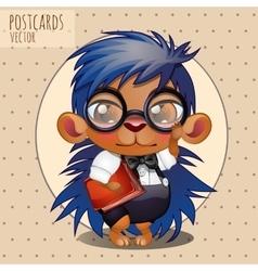 Character hedgehog nerd boy with book vector