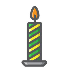 christmas candle filled outline icon new year vector image