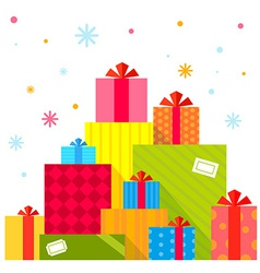 Christmas of the piles of presents on white vector