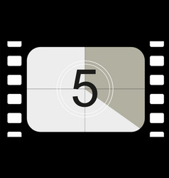 Classic movie countdown frame at number five vector