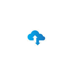 cloud download computer logo vector image