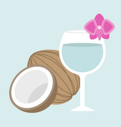 coconut juice with orchid vector image