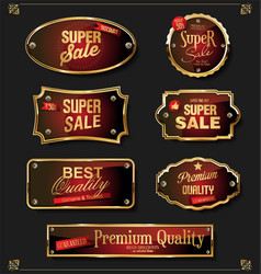 Collection of elegant red and gold badges vector
