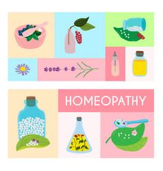 color patern with inscription homeopathy vector image