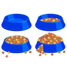 Colorful cartoon pet food bowl set vector