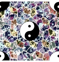 Colorful seamless pattern with Yin and Yang symbol vector image
