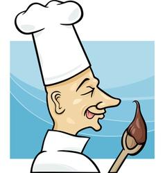 Cook with chocolate cream cartoon vector