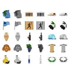 Country greece cartoonmonochrom icons in set vector