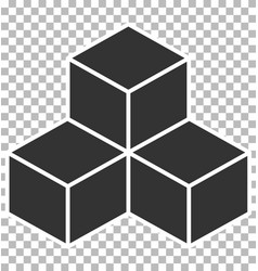 Cube icon on transparent background flat style vector
