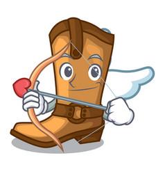 Cupid cowboy boots in the shape cartoon vector