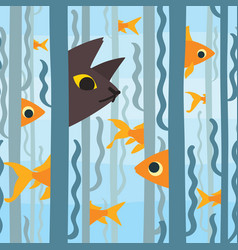 Curious kitty watching aquarium fish swimming vector