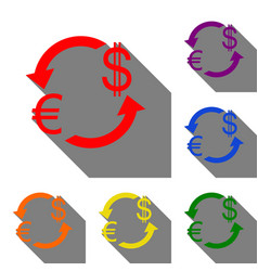 currency exchange sign euro and us dollar set of vector image