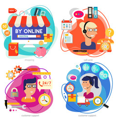 customer support call center and online shopping vector image