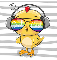 Cute chicken with sun glasses vector
