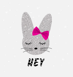 cute rabbit in sequins bunny cute print vector image