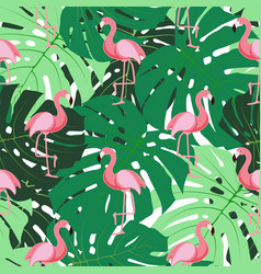 Cute retro seamless flamingo pattern background vector