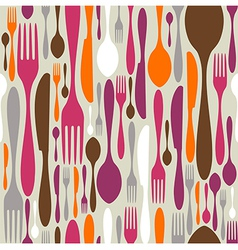 Cutlery silhouette icons pattern background vector image