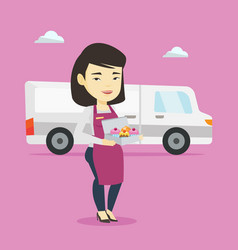 delivery woman holding a box of cakes vector image